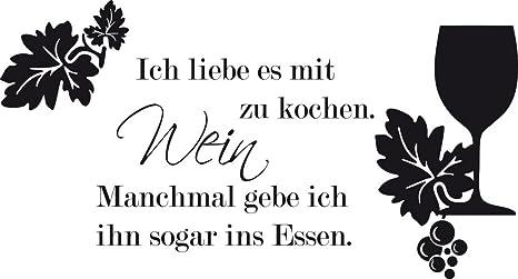 GRAZDesign Sprüche für die Küche Sprüche - Wandtatoo Küche Spruch über Wein  - Wandtattoo für Küche Weinglas - Wandtattoo Küche Lustiger Spruch / ...