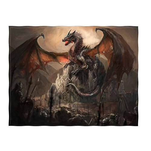 - kksme 58 x 80 Inch War with The Dragon On Castle Soft Throw Blanket for Bed Couch Sofa Lightweight Travelling Camping Throw Size for Kids Boys Women All Season