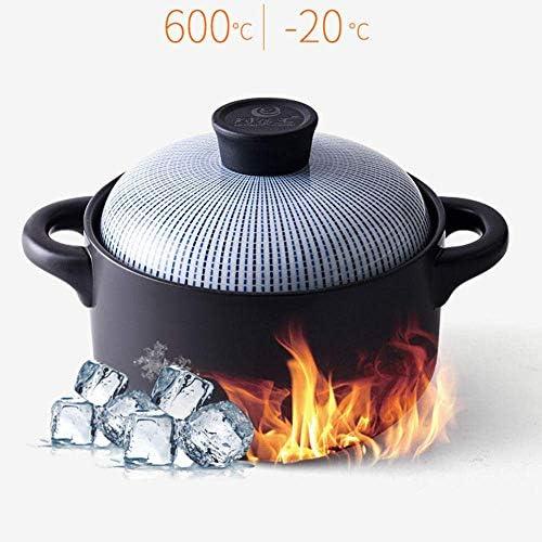 TELLMNZ Casseroles avec couvercles Casserole - Pot en céramique de Grande capacité résistant aux Hautes températures, Bouillie et Pot à ragoût de Soupe - 1,5 L