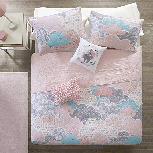 Urban Habitat Kids Cloud Full/Queen Bedding For Girls Quilt Set - Pink , Geometric, Unicorn - 5 Piece Kids Girls Quilts - 100% Cotton Quilt Sets Coverlet