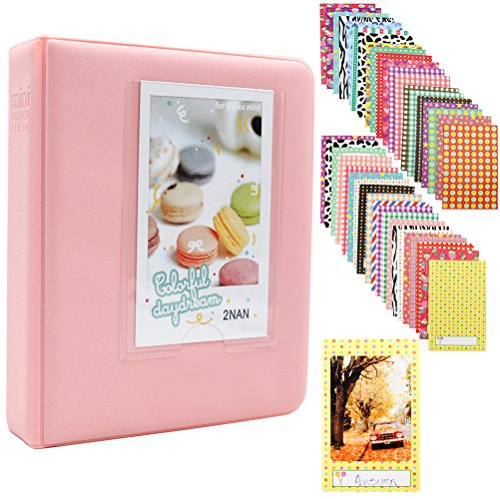 Ablus 64 Pockets Mini Photo Album for Fujifilm Instax Mini 7s 8 8+ 9 25 26 50s 70 90 Instant Camera & Name Card (Pink)