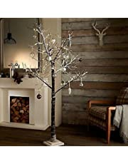 garden mile® Rustic Brown Twig Branch Tree With Snow Effect Pre-lit With LED Lights Christmas Tree Rustic Snow Effect Tree Winter Branches