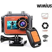 CUBICCAM+ 1080P Action Camera 16MP Waterproof Sports Camcorder with Wifi Remote Control (Orange)