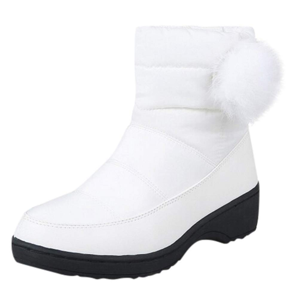 White Webb Perkin Women Wedges Low Heels Comfort Waterproof Snow shoes Plush Warm Winter Boot Lady Mid Calf Boots