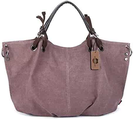 9aa36b645c KISS GOLD(TM) European Style Canvas Large Tote Top Handle Bag Shopping Hobo  Shoulder