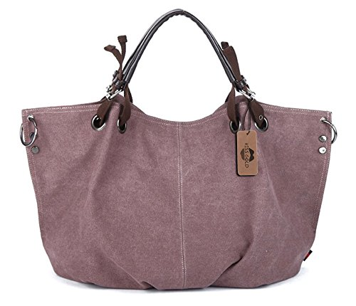 Large Kiss (KISS GOLD(TM) European Style Canvas Large Tote Top Handle Bag Shopping Hobo Shoulder Bag, Size 22 '' X6.3'' X 14.2 '' (Violet))