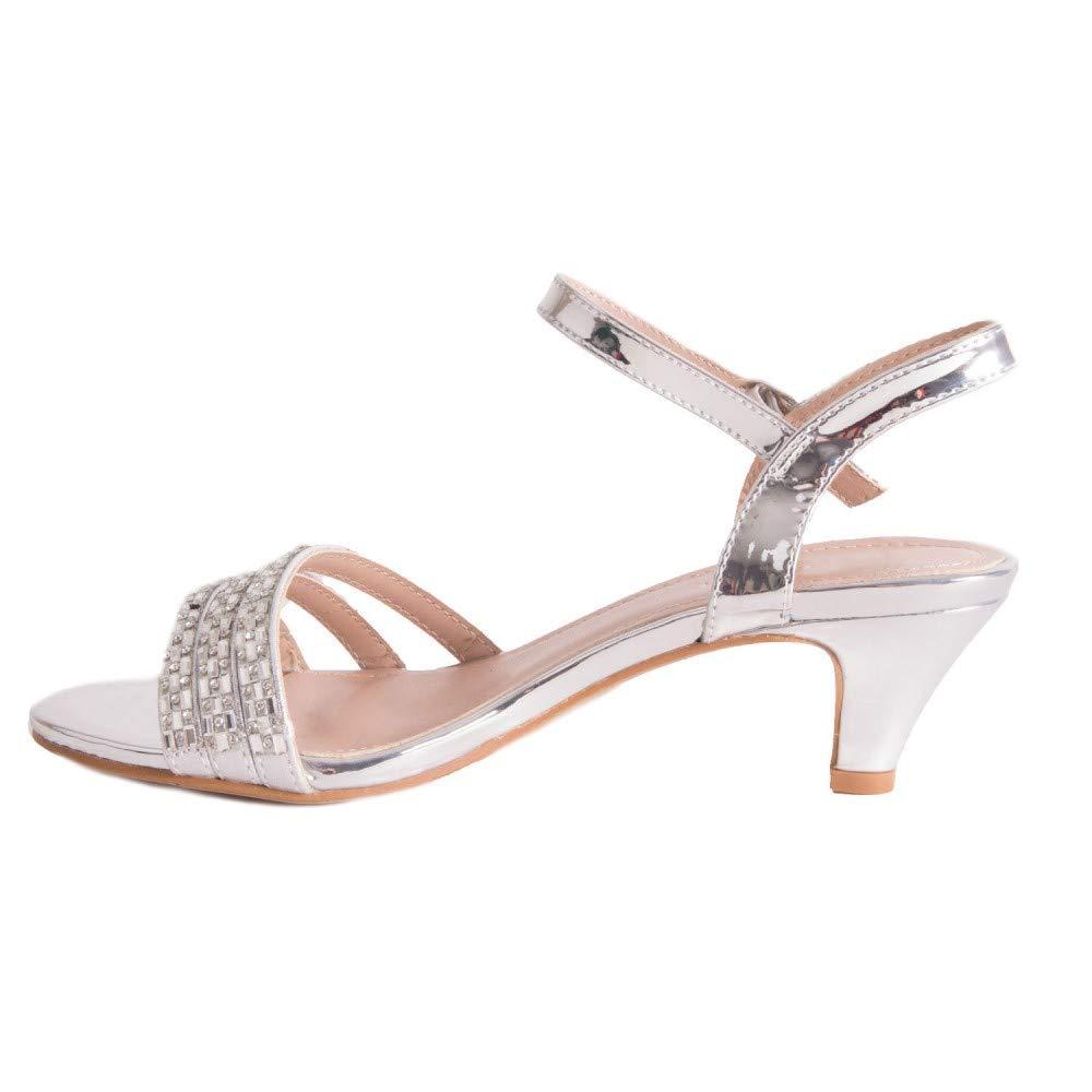 Sandales argent/ées Petit Talon Mariage /& soir/ée /à Bride Strass Perles Talon 4cm