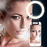Longko Selfie Ring Light - Rechargeable 36 LED Supplementary Lighting - 3 Modes Dimmable Clip Ring Light Compatible with iPhone Smartphone Android Cellphone iPad Tablet