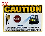 OZ-USA Set of 2 Laminated Vinyl Forklift Traffic Sign Caution Safety Warning Signage Lifting Boom Crane Warehouse Storage Indoor Outdoor Construction Area