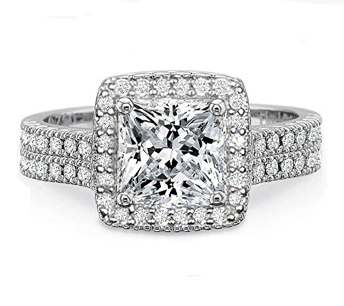 Venetia Supreme Realistic Princess Cut 2 Carats Simulated Diamond Ring Band Set 925 Silver Platinum Plated Double Halo Pave Art Decor Milgrain cz cubic zirconia Cushion 7mhalosq9