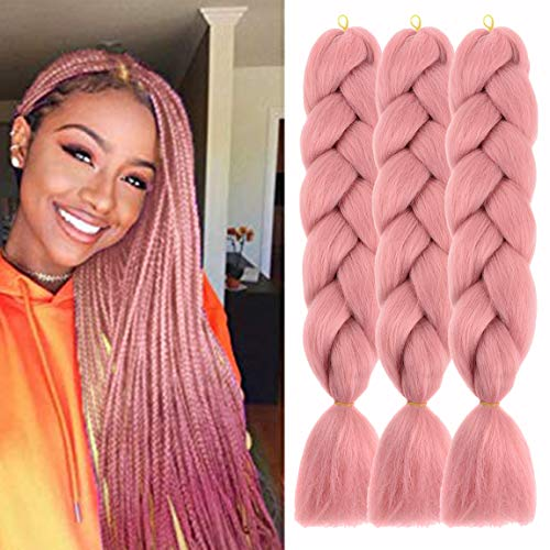 Pink Rose Crochet - MSCHARM 5 Pcs Synthetic Fiber Braiding Hair Extensions Ombre Braiding Hair Extensions for Women Daily or Party Use 100g/Pcs 24 Inch(Red Pink)