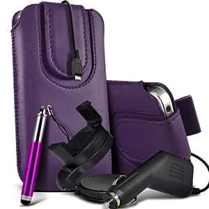 Nokia Lumia 520 premium protección PU botón magnético ficha de extracción Slip espinal en bolsa de la cubierta de piel de bolsillo rápido con lápiz óptico retráctil, un cargador de coche USB Micro 12v y 360 Sostenedor giratorio del parabrisas del coche cuna Dark Purple por Spyrox