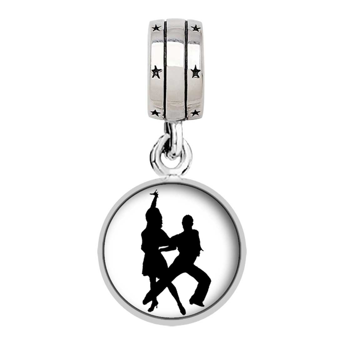 GiftJewelryShop Dance Themes Waltz Dancer Bead Charm with God All Things are Possible Religious Dangle Charm Bracelets
