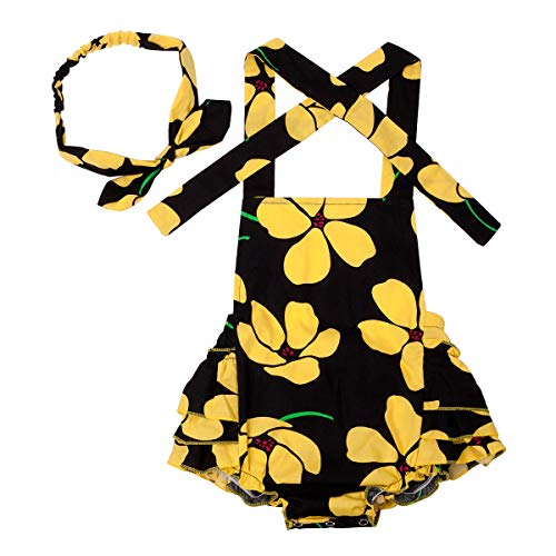 (Slowera Baby Girls 2pcs Sets Cotton Ruffles Romper Outfits Clothes (L: 24 Months, Yellow Flower))