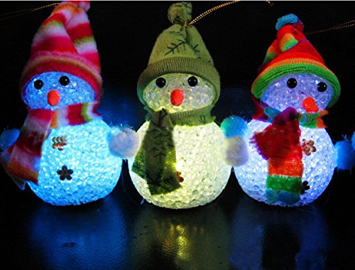 LED Color Changing Acrylic Christmas Light Up Snowmen Figurine for Holiday Party, Indoor and Outdoor