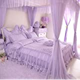 FADFAY Home Textile,Cute Girls Pink Polka Dot Bedding Set,Purple Polka Dot Bedding Set,Queen