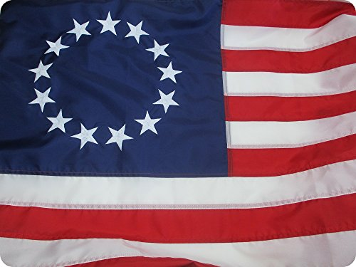 BETSY ROSS FLAG 3x5 ft - Beautiful, Durable, All Weather Nylon, 13 STAR FLAG Fully Sewn VIBRANT STRIPES and EMBROIDERED STARS- UV RESISTANT 100% Made in the (Betsy Ross 13 Star)