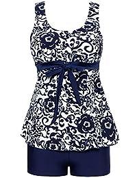 Ecupper Women's Boyleg Tankini Floral Swimwear Bathing Suit Swimsuit Swimdress