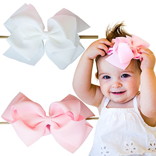 Baby Pink Bow - 2 Baby Girl Large Hair Bows on Nylon Headbands | 6