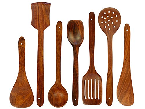 - Chritmas Gift/Chritmas Sale Handmade Wooden Spoons Cooking Utensil-Set (7-Pieces) Kitchen Tools, Set of 7