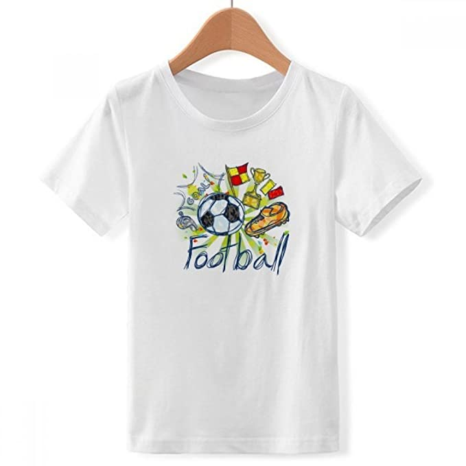 DIYthinker La Serie de Dibujos Animados patrón de fútbol de fútbol con Cuello Redondo de la Camiseta para Chico: Amazon.es: Ropa y accesorios