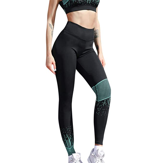 4d35b4329396a E-Scenery High Waist Yoga Pants, Color Block, Tummy Control, Workout Pants