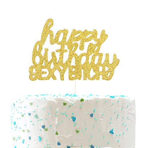 Happy Birthday Sexy Bitch Cake Topper, Funny Birthday Party Decorations (Double Sided Gold Glitter) (Bachelor Cake Topper)