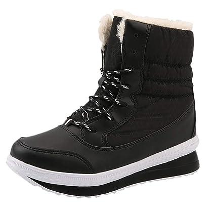 SamMoSon Botas Mujer Nieve Polar Forradas Goretex Y Agua, Mujeres Nieve del Invierno Botas De Invierno Mujeres Guardan Los Zapatos Calientes De Mitad De La ...