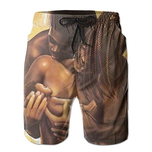 Lalamin African American Lovers Couple Beach Shorts for Men Quick Dry Boardshorts with Pockets by Lalamin