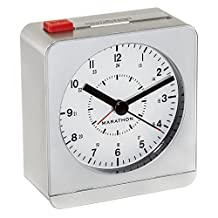 MARATHON CL030053SV Analog Desk Alarm Clock With Auto-Night Light - Batteries Included
