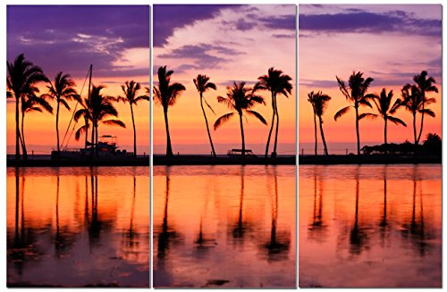 Canvas Wall Art Decor - 12x24 3 Piece Set  - Palm Tree Sunse