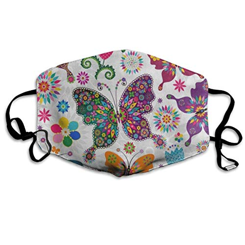 Face Mask Spring Floral Butterfly Great Cycling Half Face Earloop Nose Mask for Woman