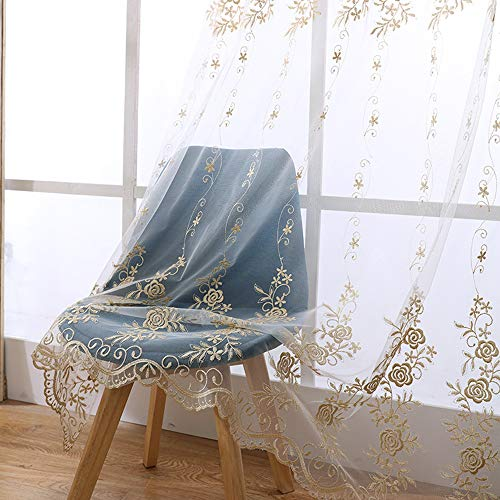 dered Sheer Curtain 84 inch Transparent Elegant Rod Pocket Tulle European Gauze Customized Golden Voile Window Curtain Drape Panel for Sliding Glass Door 1 Piece W39 x L84 inch ()