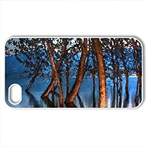 Lake trees - Case Cover for iPhone 4 and 4s (Watercolor style, White)
