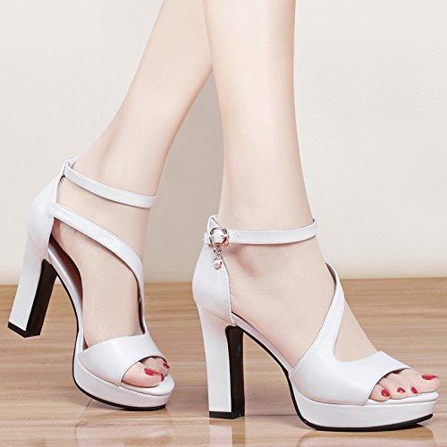 SHOESHAOGE Femmes High Épais Avec Sandales Cravate EU35 Heeled De Bouche Poisson Chaussures Taiwan Sandales Imperméable Fendue OWrIOq