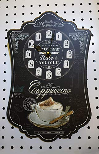 (Elegant Black Colored Cappuccino Themed Wall Clock, Shabby Chic, Wooden)