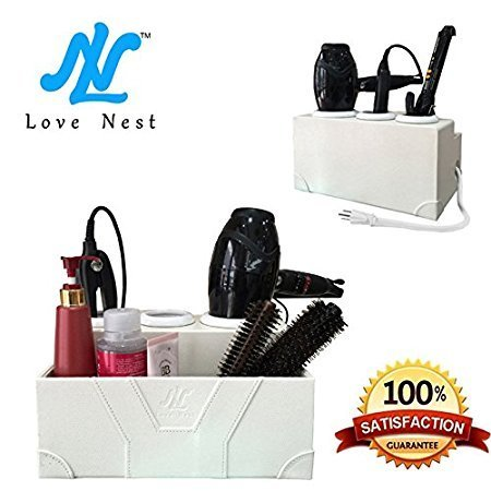 Love Nest White Personal Snake PU Leather Ceramic Countertop Hair Drying Holder Hair Styling Storage Chest Station