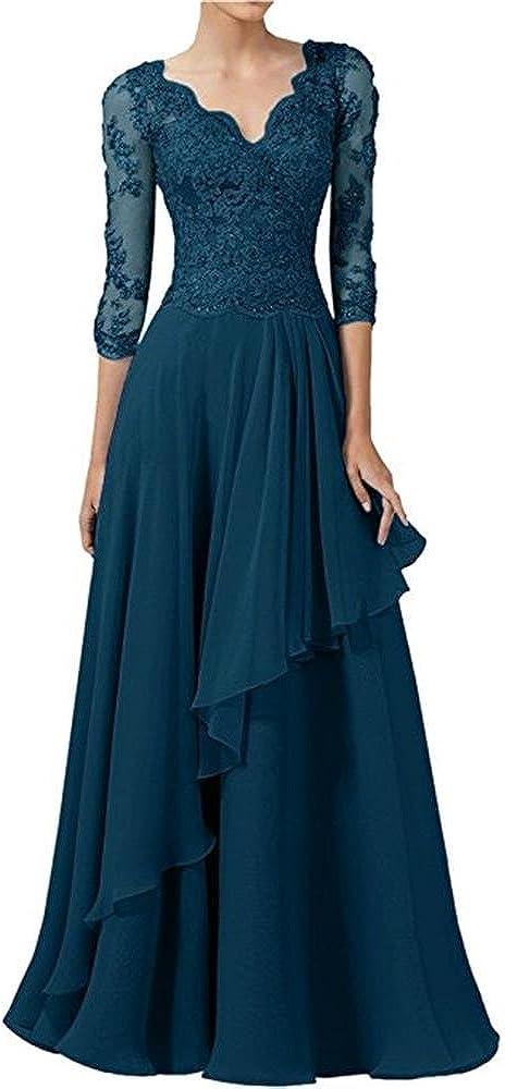 Cloverbridal Elegantes V Ausschnitt Lang Chiffon Abendkleider Ballkleider Spitze Langarm Partykleider Brautmutter Partykleider
