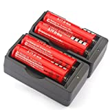 Fast Lithium Battery Charger with 3.7V 4000mAh 18650 Li-ion Rechargeable Batteries, 4 Pack