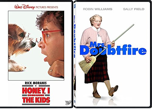 Zany Fun Family Pack - Disney Honey, I Shrunk The Kids & Mrs. Doubtfire Robin Williams Double Feature Movie set