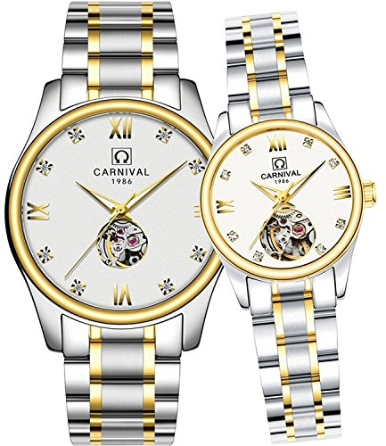 Whatswatch CARNIVAL His or Hers Automatic Mechanical Couple Watch Men and Women Gift Set of 2 by Whatswatch