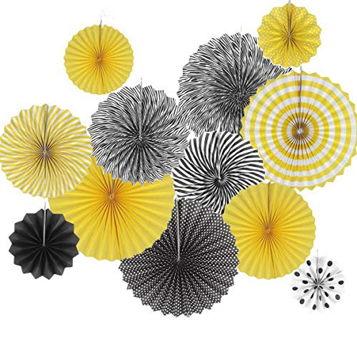 Gatton Set of 12 Black Yellow Bee Decoration Hanging Paper Fan Paper Pompoms Backdrop for Bumblebee Bee Shower Gender Reveal Decoration Bridal Shower Centerpieces | Model WDDNG - 836 | -
