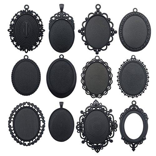 10pcs 30x40mm Black Oval Blank Bezel Pendant Trays Base Cabochon Settings Trays Pendant Blanks (10pcs Mixed No Duplicate) by ilovediybeads