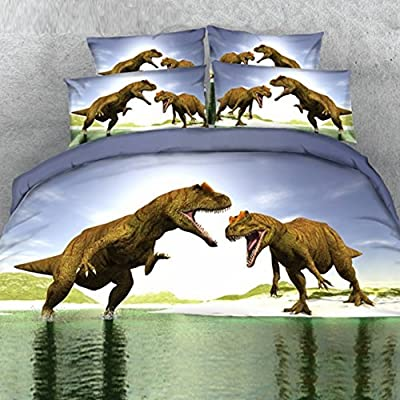 Image of Alicemall 3D Dinosaur Bedding Powerful Dinosaur Battle Blue 5-Piece Comforter Sets Unique 3D Dinosaur Quilt Bedding for Kids and Adults, Twin Size (Twin, Blue) Home and Kitchen