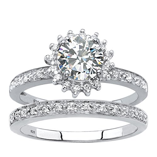 Genuine Diamond and Lab Created White Sapphire 2-Piece Halo Wedding Ring Set 1.98 TCW in Platinum ov Size 9