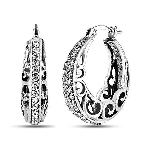 LeCalla Sterling Silver Jewelry Filigree Design Hoop Earring for Women