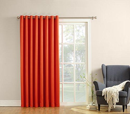 Sun Zero Barrow Extra-Wide Energy Efficient Sliding Patio Door Curtain Panel with Pull Wand, 100 x 84, Tangerine Orange