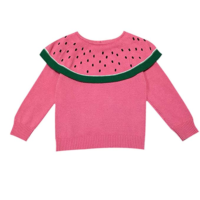 4dc5a7ca1c9 Amazon.com  Hatoys Kids Baby Girls Long Sleeve Watermelon Knitted Tops  T-Shirt Sweater  Clothing