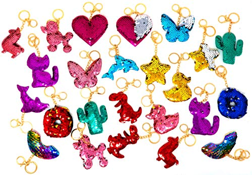 BULK 24 FLIP SEQUIN KEYCHAIN ASSORTMENT Includes Pineapples, Hearts, Flamingos, Palm trees, Dolphins, Mermaid tails Great Summer Beach Party Favors for Kids, By 4E's Novelty