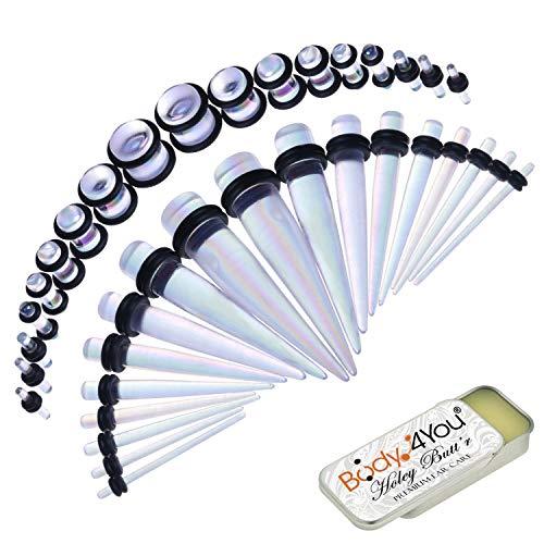 BodyJ4You 37PC Gauges Kit Ear Stretching Aftercare Balm 14G-00G Aurora Acrylic Taper Plug Jewelry Set